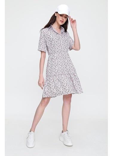 Pink Park Gömlek Yaka Valonlu Çiçekli Dokuma Elbise RD00009 Ekru